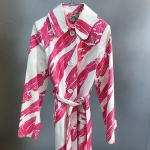 Pink and white Milly trench coat